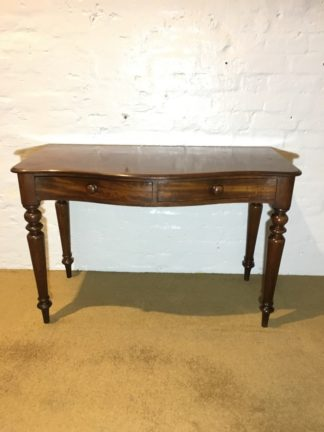 Victorian Mahogany bow-front hall table or desk, 2 drawers, c.1860 -0