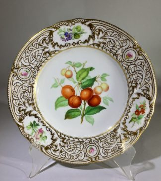 Minton plate, cherries specimen & flower, 1852 -0