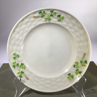 Belleek small dish with clover, black mark, c. 1930 -0