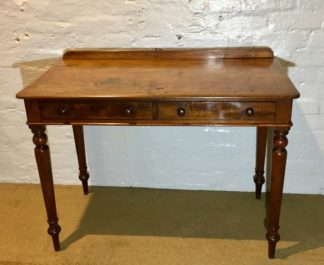Victorian mahogany serving table or desk, 2 drawers, c.1850. -0