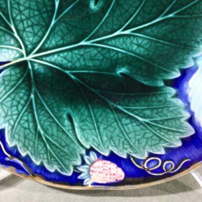 Gustafsberg (Sweden) majolica strawberry & grape dish, c. 1900-31095