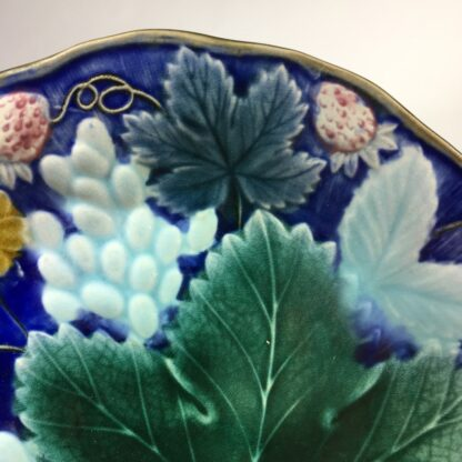 Gustafsberg (Sweden) majolica strawberry & grape dish, c. 1900-31102