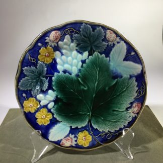 Gustafsberg (Sweden) majolica strawberry & grape dish, c. 1900-0