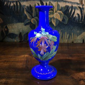 Victorian blue glass vase with flowering cactus, C. 1890 -0