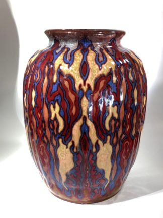 Large Gouda vase, signed by Johannes van Schaick, copper lustre c. 1930. -0
