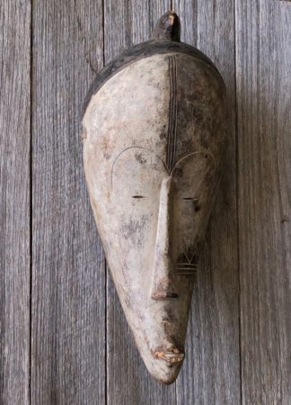 African mask, stylised face, Fang Ngil tribe, Gabon, 20th century. -0