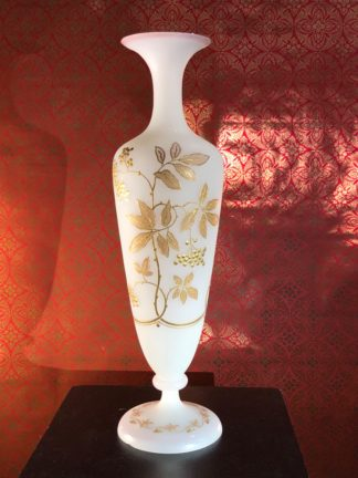 Large Victorian opaque glass vase, raised gilt berry sprays, c. 1880 -0