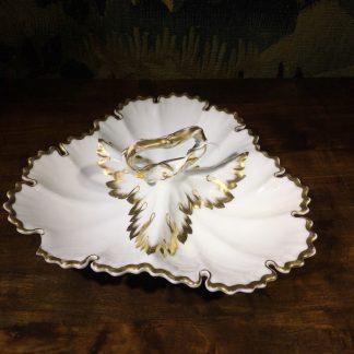 KPM porcelain serving dish, triple leaf form, c. 1880. -0