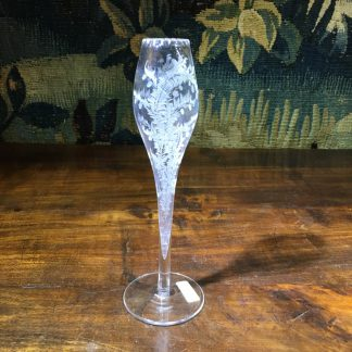 Victorian engraved glass bud vase, c. 1880. -0