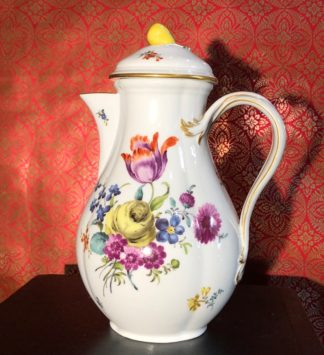 Large Meissen coffee pot, flower painting, 19th -0