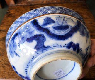 Japanese porcelain bowl, Mt Fuji, ship, plants, 19th century. -0