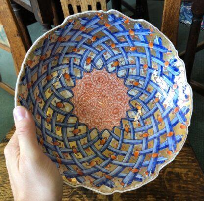 Large Japanese bowl, carnation pattern on gilt ground, c. 1890-31846