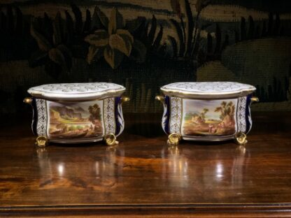 Pair of Derby bough pots, 'View in Wales' & 'View in Derbyshire', c.1825-32143