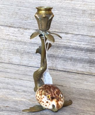 Brass & Cowrie Shell 'Dolphin' candle stick, c. 1920 -0