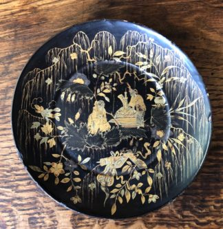 Chinese Lacquer dish, Figures in Willows, c. 1830-0