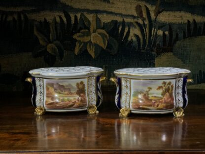 Pair of Derby bough pots, 'View in Wales' & 'View in Derbyshire', c.1825-32141