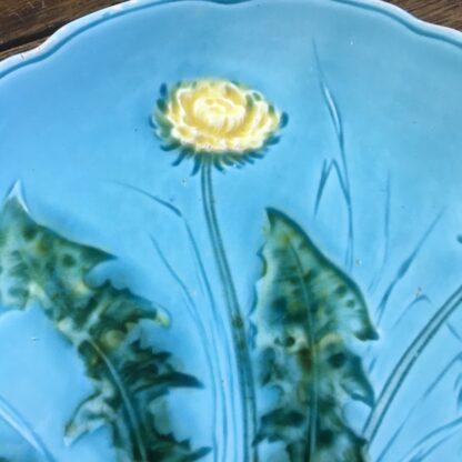 Continental majolica dandelion dish, c. 1900-32072