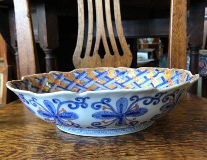Large Japanese bowl, carnation pattern on gilt ground, c. 1890-31840