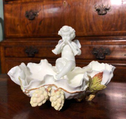 Moore Brothers cherub & hops vase, c. 1885. -0