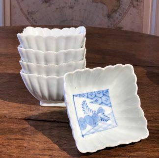 Japanese porcelain square fluted bowl, underglaze, c. 1910-0