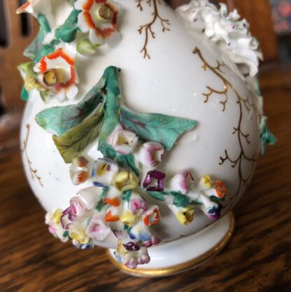 English porcelain vase, flower encrusted, circa 1850-31769