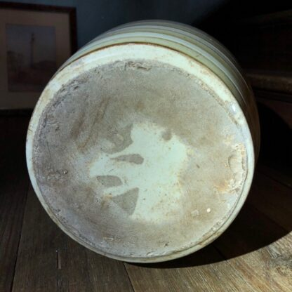 Stoneware glazed spirit barrel with handle, Australian circa 1890. -32261