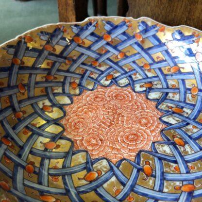 Large Japanese bowl, carnation pattern on gilt ground, c. 1890-31848
