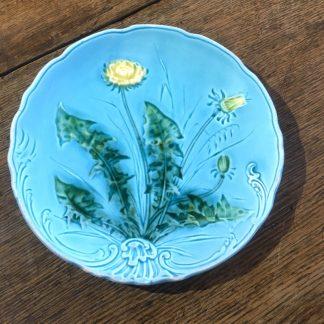 Continental majolica dandelion dish, c. 1900-0
