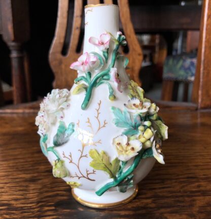 English porcelain vase, flower encrusted, circa 1850-0