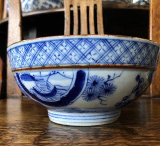 Japanese porcelain bowl, Mt Fuji & gardens, 19th century. -0