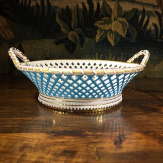 Minton porcelain basket, turquoise & gilt decoration, for Goode & Co, c.1886 -0