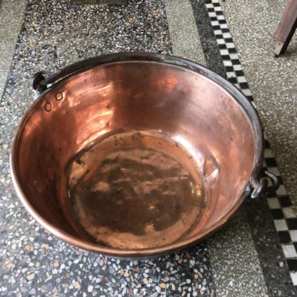 Large copper preserving pan, c.1860-0