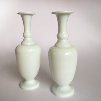Pair of small Victorian milk glass vases, c. 1890-0