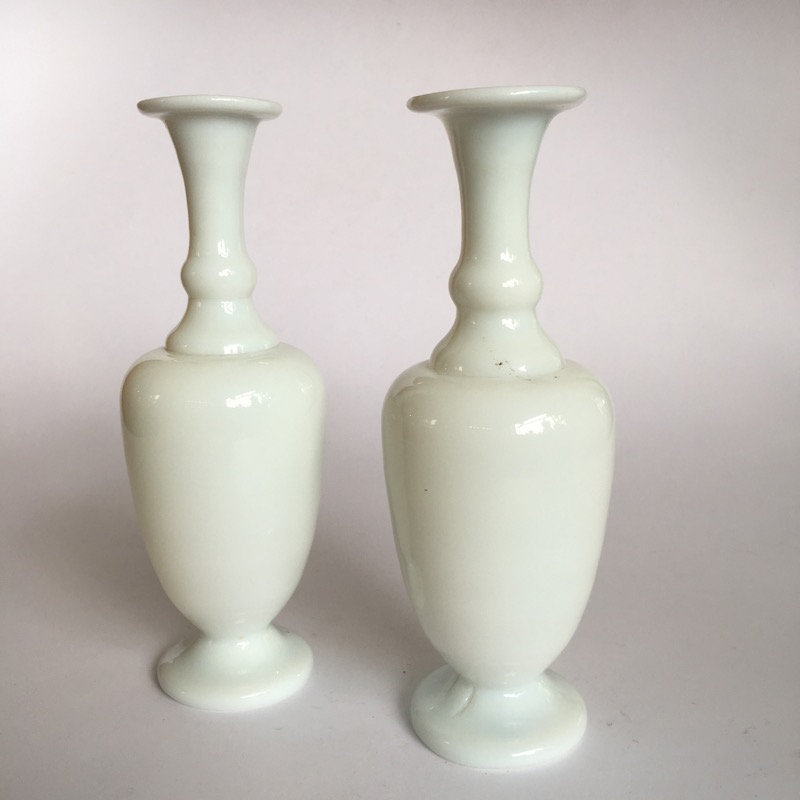 Pair Of Small Victorian Milk Glass Vases C 1890 Moorabool
