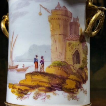 Pair of Rockingham porcelain spill vases with Continental scenes, c. 1835-32332