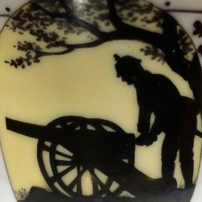 Furstenberg cup & saucer, silhouette Prussian soldier & cannon, 'Aus grosser Beit' c. 1920 -32398