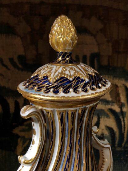 Rare Chelsea 'Rivergods' vase, wrythen moulded with blue lapis ground, c. 1760-32583