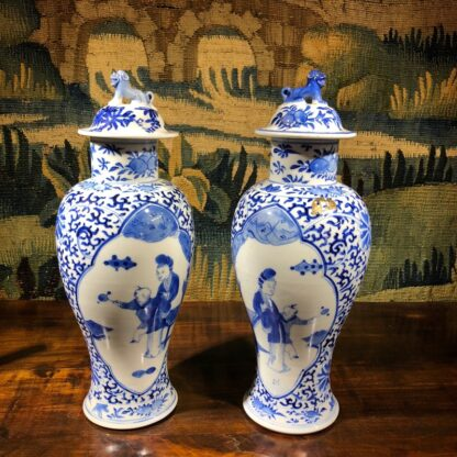 Pair of Chinese Export vases & covers, Kanxi revival, 19th /20th Century -0
