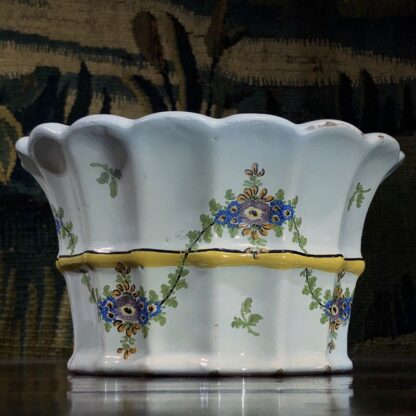 Pair of German faience bough pots, fluted form with flowers, c. 1780 -32447