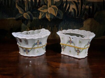 Pair of German faience bough pots, fluted form with flowers, c. 1780 -32441