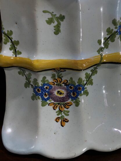 Pair of German faience bough pots, fluted form with flowers, c. 1780 -32450