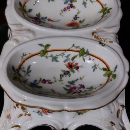 Pair of Meissen Rococo double salts with flower decoration, c. 1765-32456