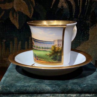 Berlin cup & saucer, finely painted scene of the Königsberg (Kaliningrad) railway station, circa 1850 -0