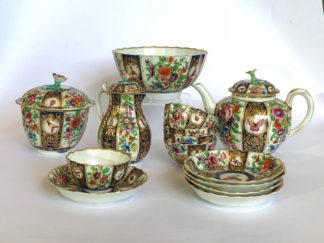 Worcester part tea service, circa 1760, decorated after Giles, 19th century -0