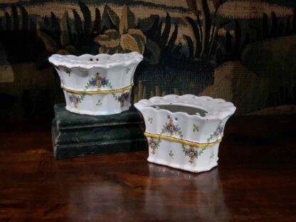 Pair of German faience bough pots, fluted form with flowers, c. 1780 -32440