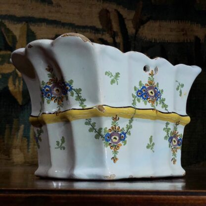Pair of German faience bough pots, fluted form with flowers, c. 1780 -32446