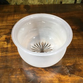 Victorian acid etched glass bowl, star cut base, c. 1860. -0