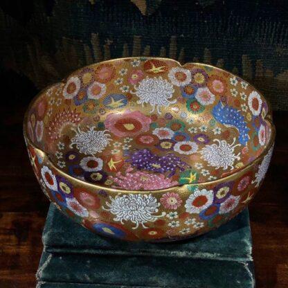 Japanese Satsuma bowl with rich 'Thousand Flower' pattern, c.1920-0
