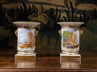 Pair of Rockingham porcelain spill vases with Continental scenes, c. 1835-0