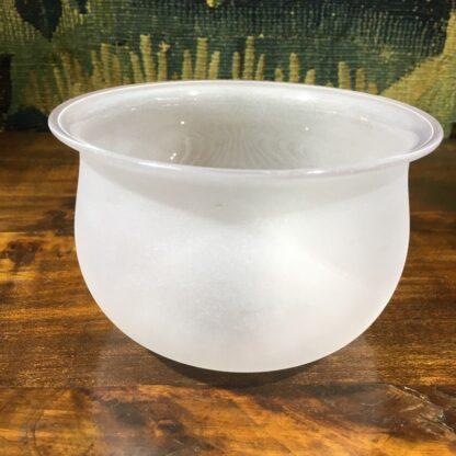 Victorian acid etched glass bowl, star cut base, c. 1860. -32675